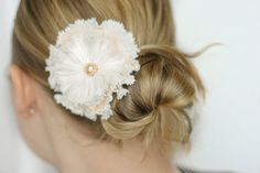 White & Peach Wedding Flower Hair Accessory  by MABeInspired on Etsy.    Buy it here: https://www.etsy.com/listing/121003635/white-peach-flower-hair-accessory-white