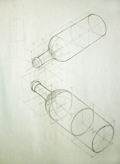 Drawing Techniques Bottles - dispatches from an interested observer Perspective Drawing Lessons, Perspective Art, Basic Drawing, Technical Drawing, Drawing Tips, Manga Drawing, Pencil Art Drawings, Art Sketches, Drawing Faces