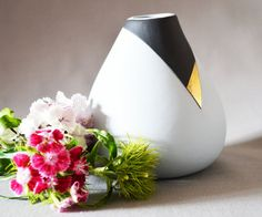 Ceramic Vase Ceramic Grey and Black Bud Vase with by SejalCeramics