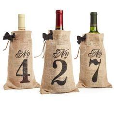 Burlap Table Number Wine Bag http://weddingshop.theknot.com/burlap-table-number-wine-bag.aspx