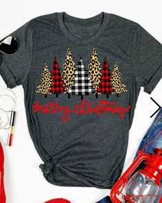 Merry Christmas Trees Plaid Leopard Printed T-Shirt. Spend your Christmas in comfort and style in this cute and fun t-shirt. Wear this wonderful Christmas Tree tee and enjoy happiness with your family. Our shirts are comfortable and stylish. Christmas Tops, Plaid Christmas, Merry Christmas, Cute Christmas Shirts, Christmas T Shirt Design, Christmas Clothes, Christmas Outfits, T Shirt Designs, Plaid And Leopard