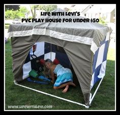 Over the weekend, I decided to build a PVC playhouse for my son. I didn't want to spend a lot of money to make it, so I chose inexpensive DIY materials. Crafts For Kids To Make, Fun Crafts, Pvc Playhouse, Pvc Tent, Diy Craft Projects, Weekend Is Over, Play Houses, Kids Playing, Bricolage