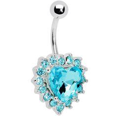 Aqua Gem Sweet Surround Princess Heart Belly Ring | Body Candy Body Jewelry