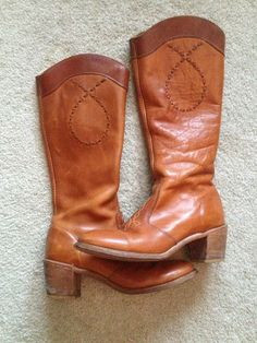 Vintage Brown Western Cowboy Campus Riding Steampunk Leather Brown Boots 7 5 | eBay