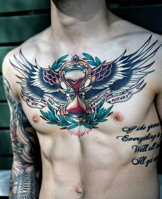 Traditional American Badass Hourglass Eagle Wings Chest Tattoos For Males
