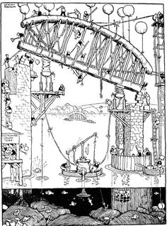 Inch Print - High quality print (other products available) - Illustration, Railway Ribaldry by W Heath Robinson -- The building of Saltash Bridge. Date: 1935 - Image supplied by Mary Evans Prints Online - Photo Print made in the USA Fine Art Prints, Framed Prints, Canvas Prints, Heath Robinson, Photographic Prints, Wonderful Images, Poster Size Prints, Photo Mugs, Photo Gifts
