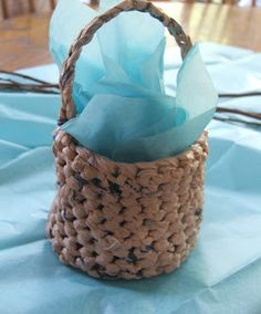 """Free Fun Pattern for a """"Plarn"""" mini basket made from shopping bags (and a crochet hook)"""