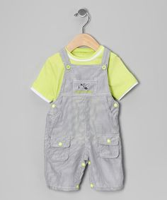 Take a look at this Lime & Gray Airplane Tee & Overalls - Infant by Cutey Couture on #zulily today!