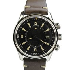 You can see the date wheel in this classic Jaeger-LeCoultre Memovox Polaris divers alarm wristwatch with a stainless steel case (circa 1960s). Photo courtesy of 1stdibs.com