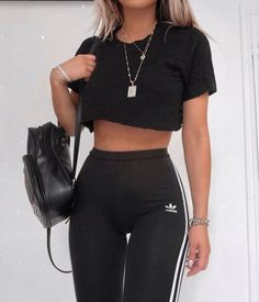 Awesome Adidas Legging Outfits Ideas to Steal Source by fanc., Awesome Adidas Legging Outfits Ideas to Steal Source by fancyfantacymag outfit summer. Legging Outfits, Crop Top Outfits, Sporty Outfits, Mode Outfits, Cute Casual Outfits, Stylish Outfits, Summer Outfits, Fashion Outfits, Fashion Pants