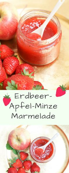 Strawberry apple jam with mint jam
