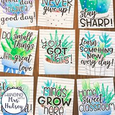 Motivational Posters (Succulent and Shiplap) by Hanging with Mrs Hulsey 3rd Grade Classroom, Classroom Setup, Classroom Design, Future Classroom, Classroom Organization, Classroom Management, Class Decoration, School Decorations, School Themes