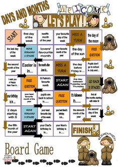 days and months - BOARD GAME - English ESL Worksheets for distance learning and physical classrooms English Games For Kids, English Worksheets For Kids, English Lessons For Kids, Kids English, English Class, Teaching English, Learn English, Speaking Games, Grammar Games