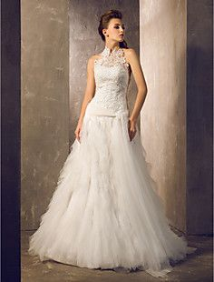 Sheath/Column Halter Court Train Tulle And Lace Wedding Dres... – USD $ 163.99