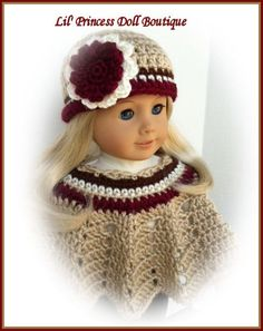 Made For American Girl Doll, Crochet Poncho and Hat Set, Multi Color Bone, Burgundy, Ivory, Chocolate Brown. via Etsy.