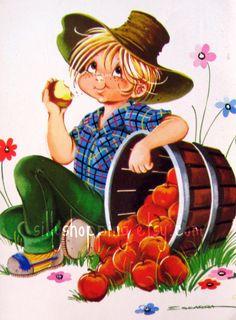 〆(⸅᷇˾ͨ⸅᷆ ˡ᷅ͮ˒)                                                               Vintage 70s Cute Big Eyed Boy Postcard.