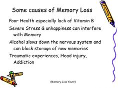 what are the causes of memory loss? Visit us on goimprovememory.com Via google images #memory #memorys #memorylane #memorybox #memoryfoam #memories #memoryloss #improvememory #memoryday #memoryhelp #memorybook