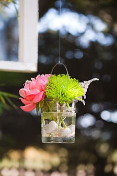 hanging glass jar with flowers