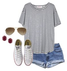 """""""my head says homework but my heart says polyvore"""" by banana918 ❤ liked on Polyvore featuring Organic by John Patrick, Converse, Ray-Ban and Kendra Scott"""