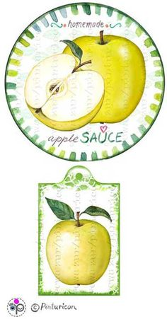 Circle jam label apple sauce label printable mason jar sticker homemade fruit labels applesauce gift tags by Pinturicon on Etsy