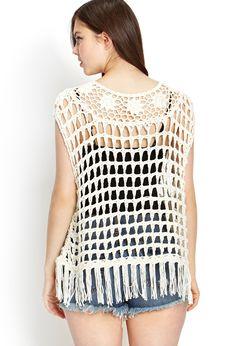 Tasseled Open-Knit Top   Forever 21 - 2000062100