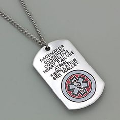 Three line medical id bracelet customize hand stamped epilepsy our new heavy duty large stainless steel medical id alert dog tag necklace is perfect for mozeypictures Image collections