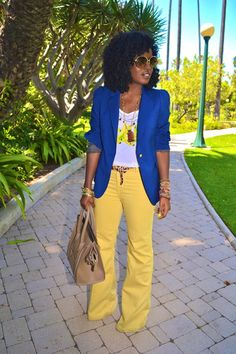 """Navy Boyfriend Blazers, Yellow Level 99 Jeans, Camel Celine Bags 