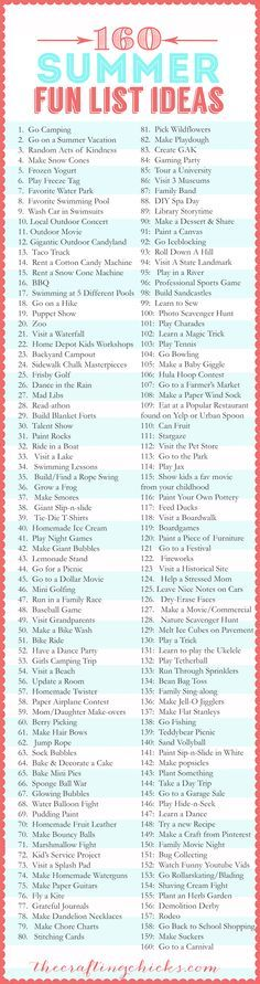 160 Summer Fun List IDEAS #summer #list #fun most of these seem cool