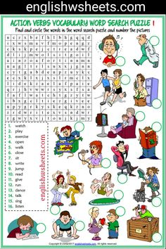 Fun ESL printable word search puzzle worksheets with pictures for kids to study and practise action verbs vocabulary. Find and circle the action verbs vocabulary in the word search puzzle and number the pictures. sets of word search puzzle worksheets) English Activities For Kids, English Worksheets For Kids, Vocabulary Worksheets, Printable Worksheets, English Verbs, English Vocabulary, English Class, Verbs For Kids, Verb Games