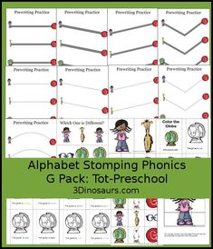 Free Alphabet Stomping Phonics G Tot-Preschool Pack - 20 pages of activities - 3Dinosaurs.com