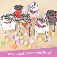 Attack of the Love Pugs! Download yours here: http://www.inkpug.com/downloads/valentinepugstandups.html