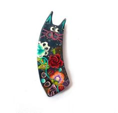 mothers day gift Cat pin Cat brooch black cat pin von Chifonie