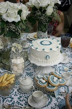 A blue and white themed afternoon tea.
