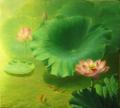 LOTUS.....PAINTING.....BY JIANG DEBIN.....ON CUADERNO DE RETAZOS.......