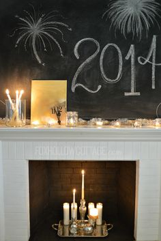 Cheap and Easy #DIY New Year's Eve Mantel | #decoratingideas #newyearseve #gold #glitter