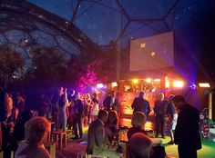 Disco Shed at night at an Eden Project wedding