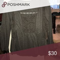 Long sleeve shirt Button down gray designs u neck line American Eagle Outfitters Tops Blouses