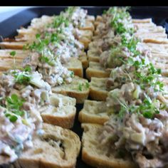 Chicken, Celery, Walnut on Croute #canape