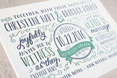 serendipity letterpress wedding invitations by Sarah Brown at minted.com- I LOVE THE LAYOUT & FONTS!!