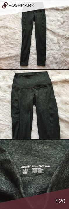 NWOT Arie Chill Play Move Pocket legging S short New without tags! Soooooooo soft and comfy. These are fleece lined so they would be better for lounging than working out. (Purchased thinking they were just regular leggings). The color is a cool green and black mix and they are perfect length for my 5'4 frame. Last photo is the stock photo but in black. Size: small - short aerie Pants Leggings