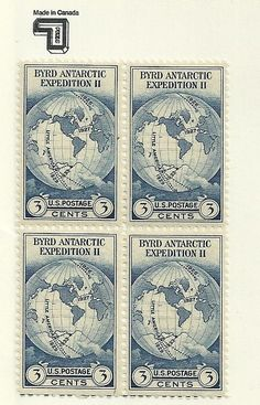 US 1933 Scott # 733 - 3¢ Byrd Expedition block of 4 stamps MNH #