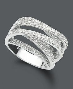 Victoria Townsend Diamond Ring, Sterling Silver Diamond Multi Row (1/2 ct. t.w.) at Macy's