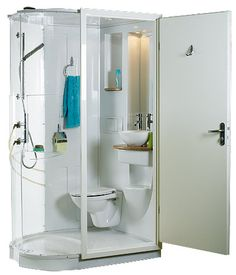 >>Bathroom pod - Instead of adding a bathroom one day to our one-bathroom home, my husband wants to put this pod in a corner. Hmmmm.