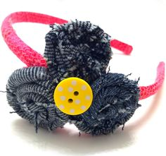 Girl's Headband with Denim Rosettes and Yellow Button Center on a Hot Pink Band. $11.00, via Etsy.
