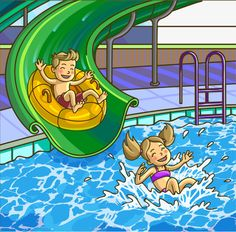 Buy Summer Fun Aqua Park by Sonulkaster on GraphicRiver. Water hills in an aquapark. The cheerful boy and girl rides on water hills. Poster Drawing, Baby Painting, Kid Pool, Great Ads, Fun Fair, Summer Boy, Crafts For Kids To Make, Book Images, Water Slides