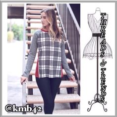 Last One! Plaid Zipper Detail Sweatshirt Super cute & unique sweatshirt. Black and white plaid on front, grey cable knit sleeves, solid dark red on back. Also featuring zipper detail. Made of a poly/cotton blend. Size small Threads & Trends  Tops Sweatshirts & Hoodies