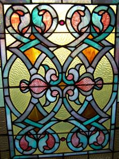 A Pair of Brilliant Victorian Stained Glass Windows Nouveau + Gothic c.1860 | eBay