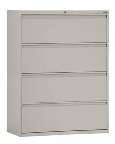 """30"""" Wide 4 Drawer Lateral File by Sandusky Lee by Sandusky Lee. $569.00. File Cabinets Sandusky 800 Series Lateral Files feature: *All steel full width drawer pulls featuring double wall reinforced drawer fronts for extra stability *Full drawer extension using three telescoping sections operating on steel ball bearings slide suspension *Double wall reinforced drawer fronts for extra stability *19-1/4"""" drawer accomodates letter/legal files using side to side hangi..."""