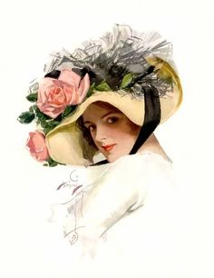 Harrison Fisher  I love this one especially with the hat and roses…and turned down brim with ribbon…oh my!
