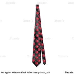 Red Apples White on Black Polka Dots Tie